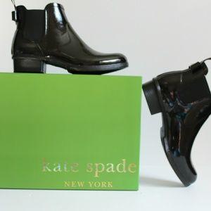 NIB Kate Spade Black Rubber Rain Boots sz 11